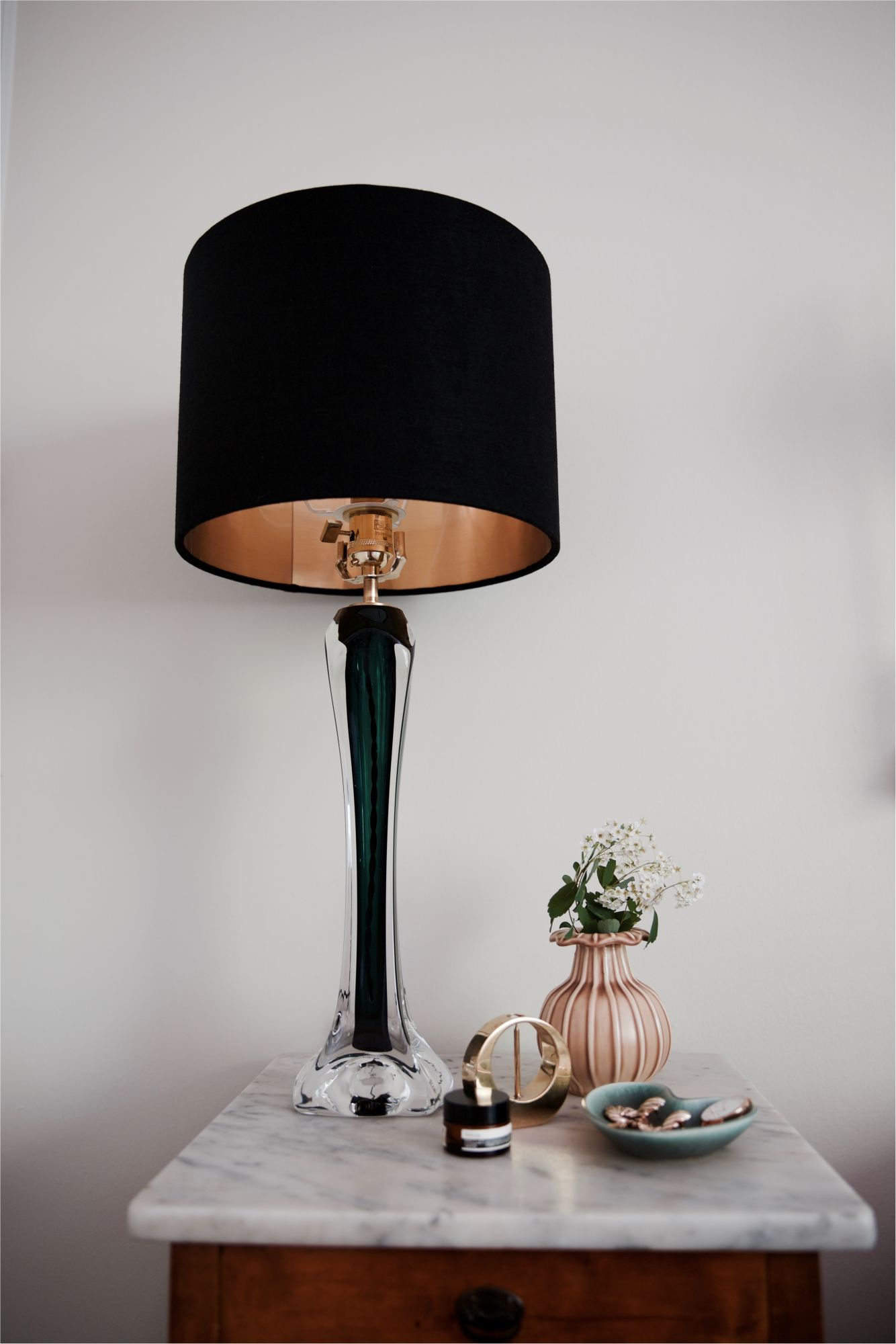 Pair Of Large Flygsfors Green Table Lamps 1960s