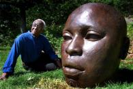 Boston Globe photo from 2001 of John Wilson with another version of Eternal Presence