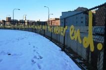4-foot x 319-foot artwork, made of bright yellow high density polyethylene