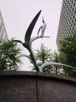 The cast bronze sculpture I have designed depicts three ibis ascending.