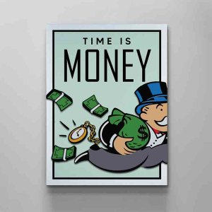monopoly time is money canvas art by artoxic