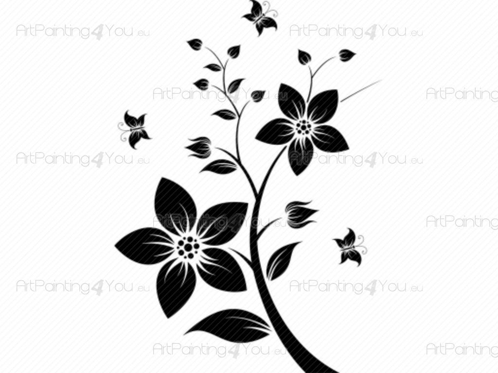 Vinilos Decorativos Flores  Mariposas  ArtPainting4You