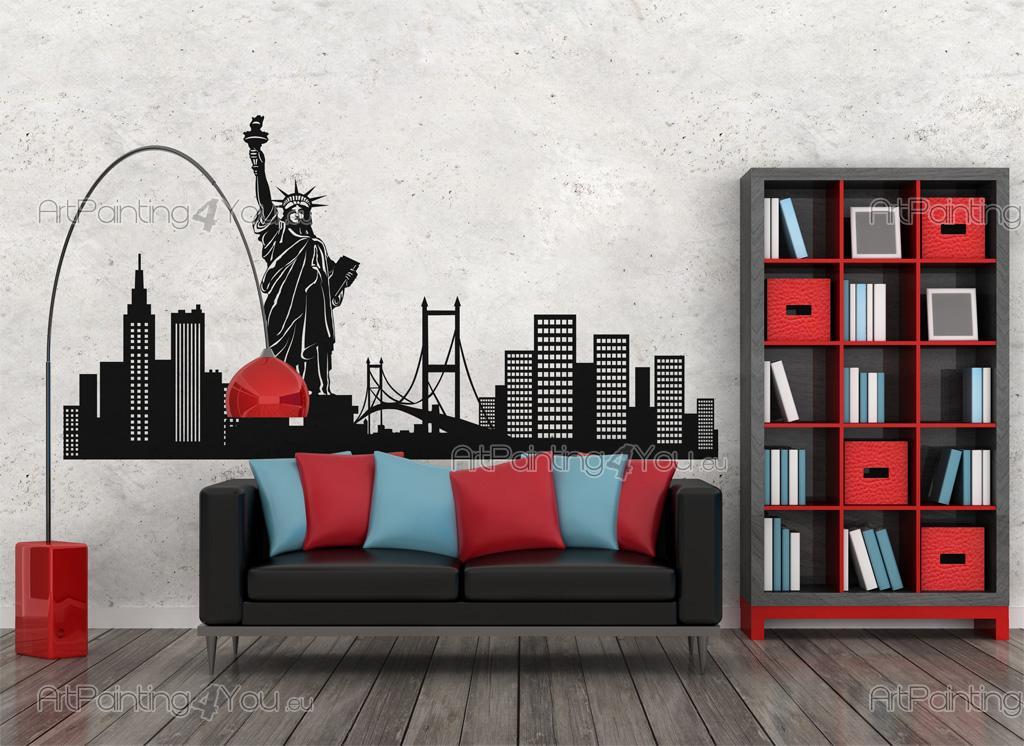 Brooklyn bridge, statue of liberty, empire state. Wall Stickers New York Skyline Vdv1032en