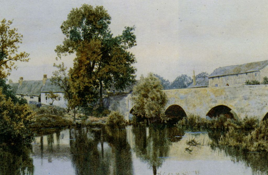 A Stone Bridge Leading into a Village by William Fraser Garden