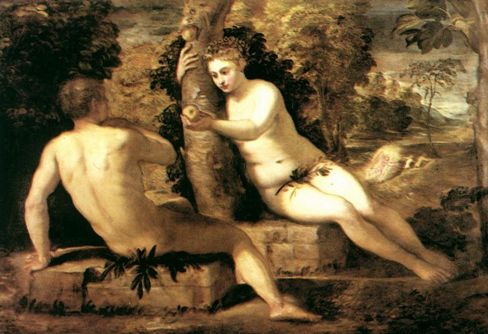 Adam and Eve by Jacopo Robusti Tintoretto-History Painting