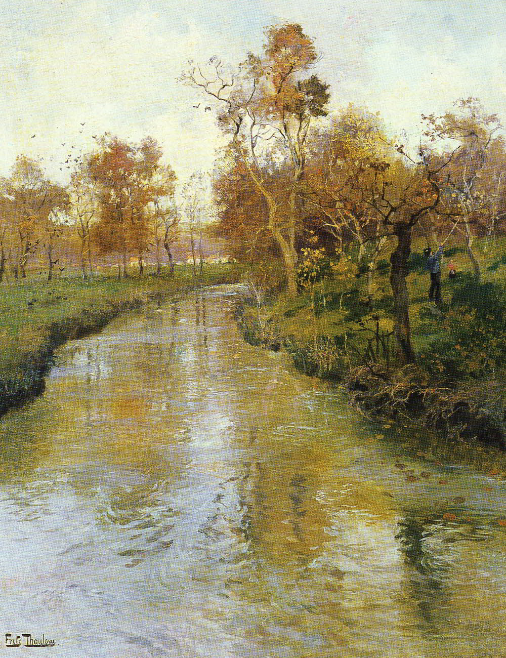 Autumn by Fritz Thaulow-Landscape Painting