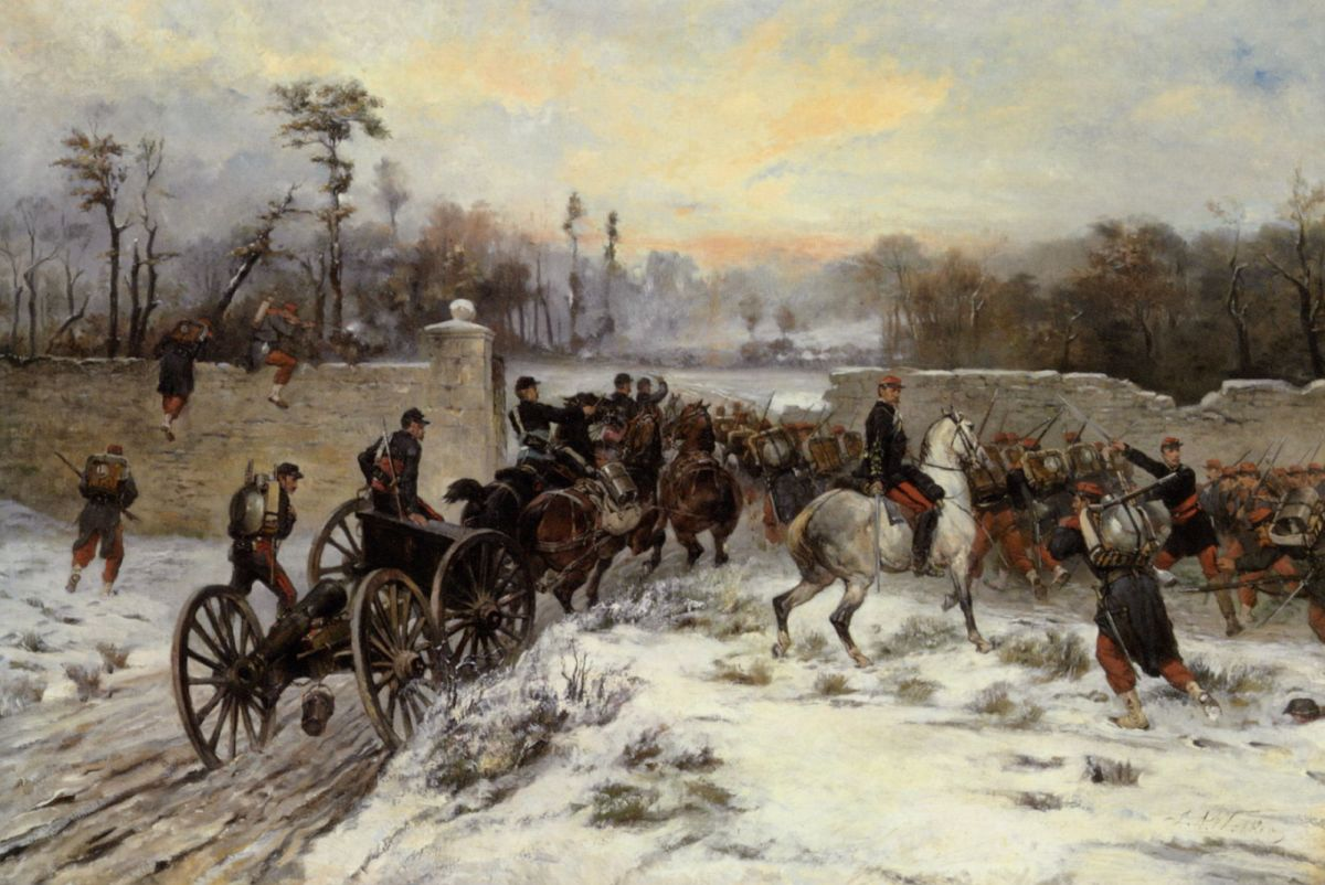 Engagement near St Cloud by James Alexander Walker-Oil Painting