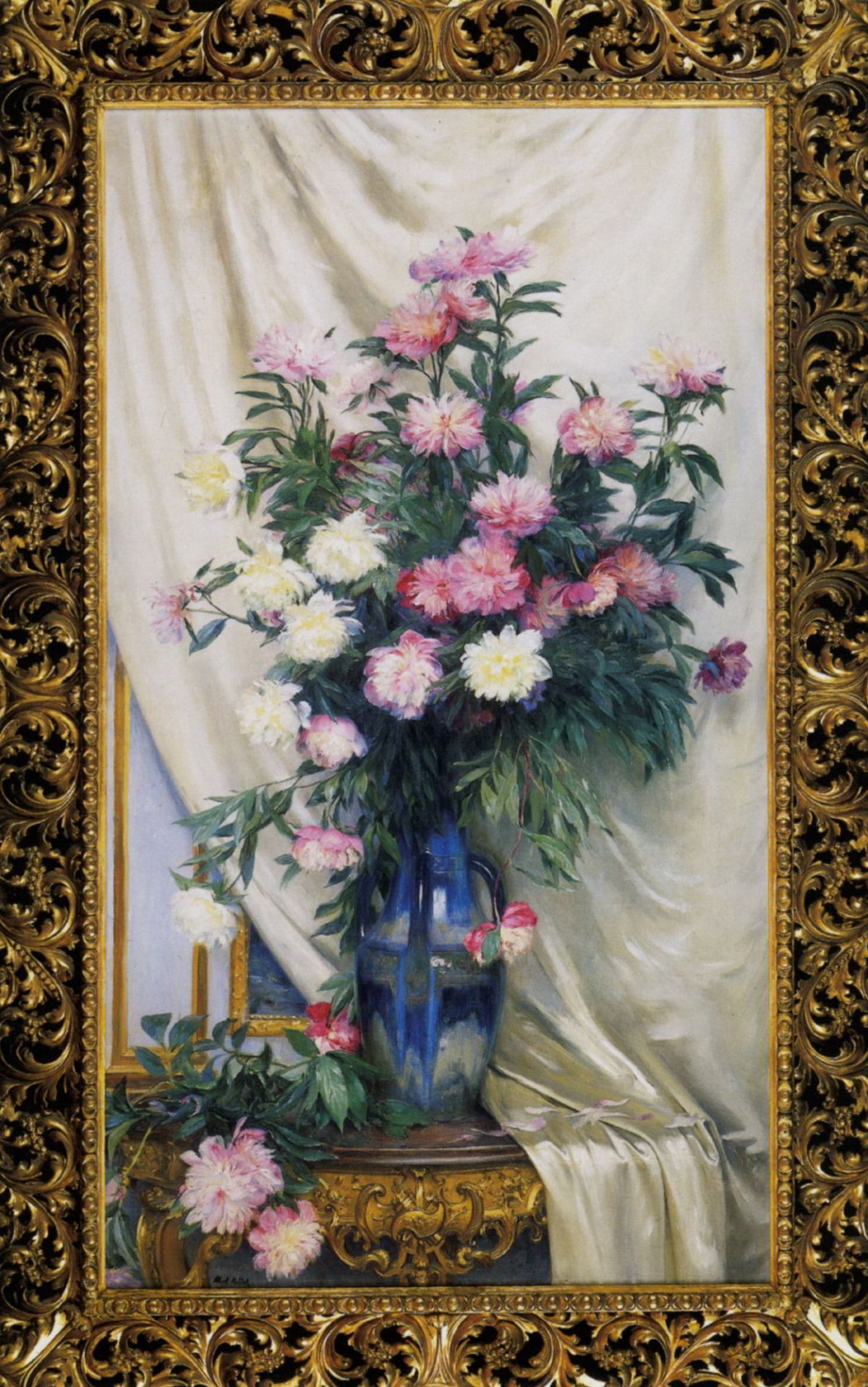 Peonies in a Blue Vase on a Draped Regency Giltwood Console Table by Albert Aublet
