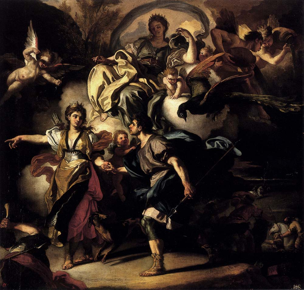 The Royal Hunt Of Dido And Aeneas by Francesco Solimena-Oil Painting