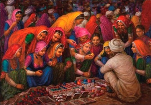 Traditional Bangle Seller by Gopal Khetanchi-Genre Painting