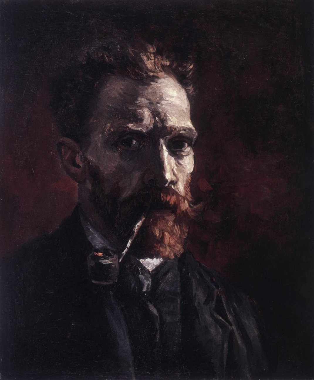 Self-Portrait with Pipe (1) by Vincent Van Gogh