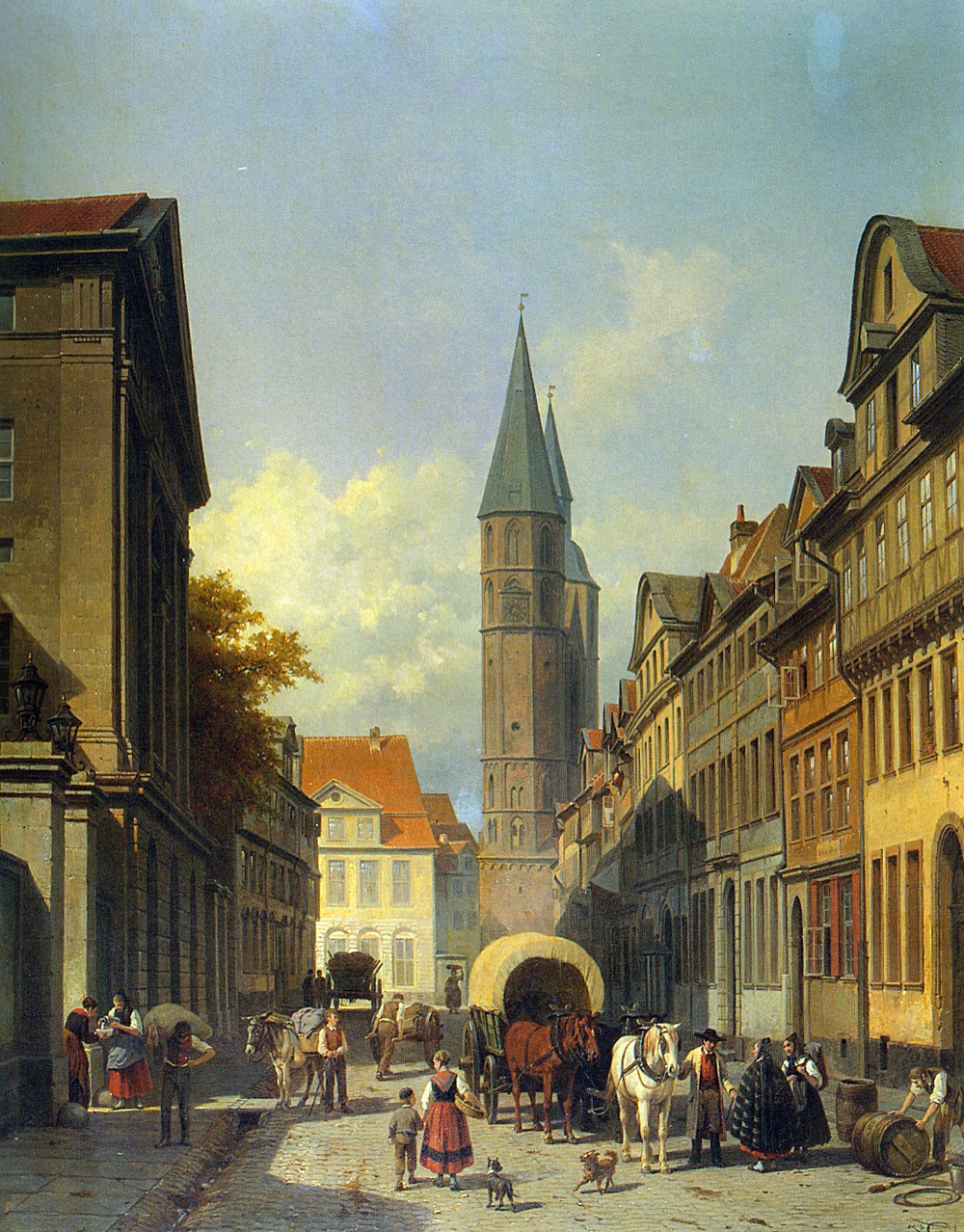 A Busy Street in a German Town by Jacques Carabain