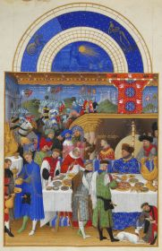 (2) A page from the book of hours, Très Riches Heures illuminated by the brothers.