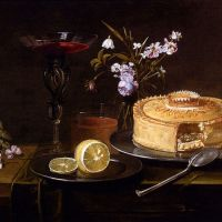 A Still Life Of A Pie And Sliced Lemon On Pewter Dishes, A Vase Of Flowers, A Glass Of Beer And A Wine Glass Upon A Partly Draped Table by Frans Ykens