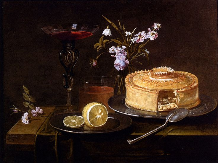 A Still Life Of A Pie And Sliced Lemon On Pewter Dishes A Vase Of Flowers A Glass Of Beer And A Wine Glass Upon A Partly Draped Table by Frans Ykens