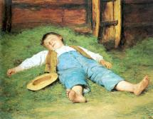 Boy Sleeping in Hay Albert Anker