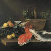 Still life with lobster, salmon, peeled lemon and fruits in a bowl and vegetables in a copper basket on a table by Frans Ykens