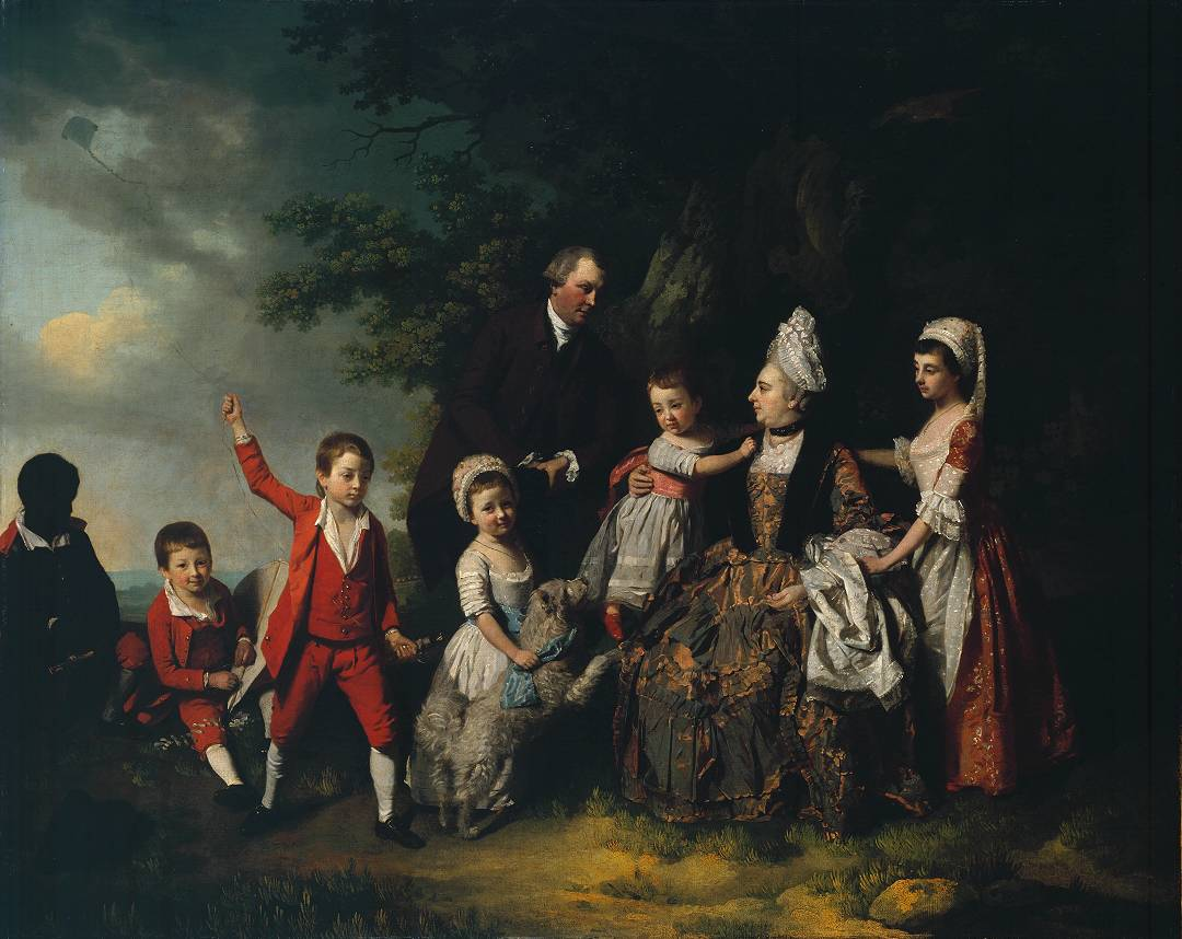 A Family Group in a Landscape circa 1775 by Francis Wheatley 1747-1801