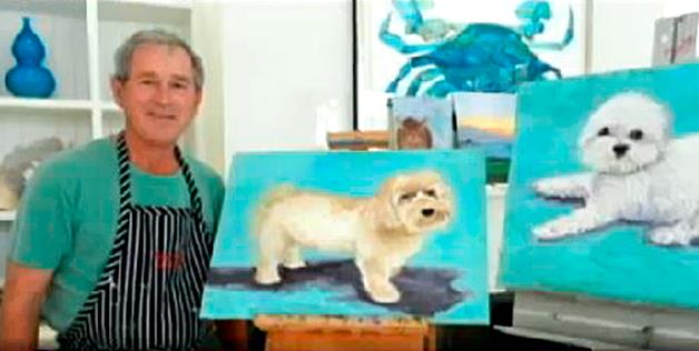 George W. Bush with a painting by him