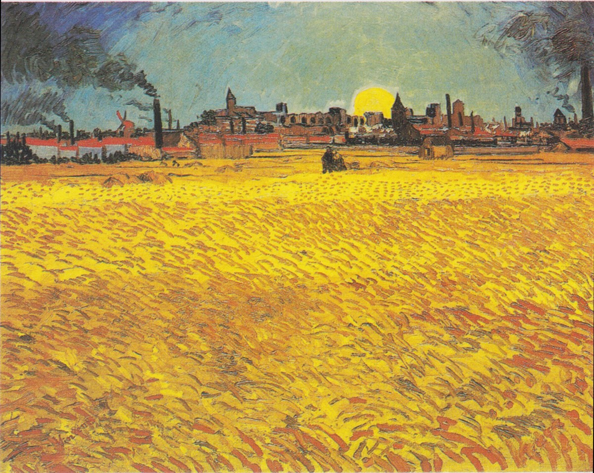 Sunset Wheat field near Arles by Vincent van Gogh-Landscape Painting