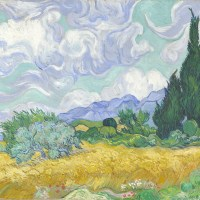 Wheat Fields with Cypresses by Vincent Van Gogh (London Version)