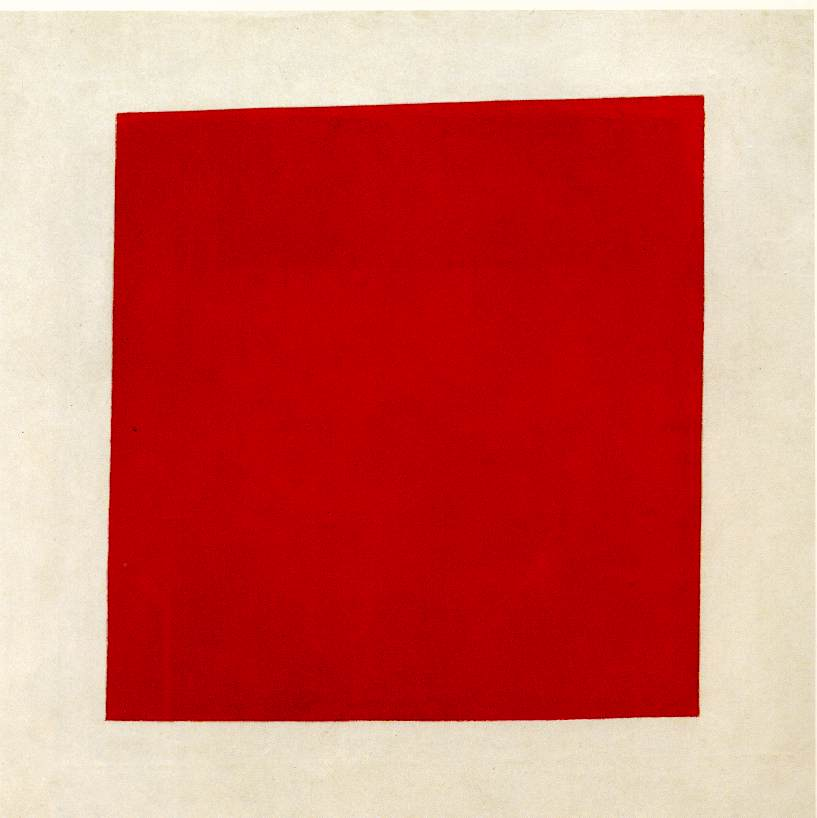 Red Square Painterly Realism of a Peasant Woman in Two Dimensions by Kazimir Malevich