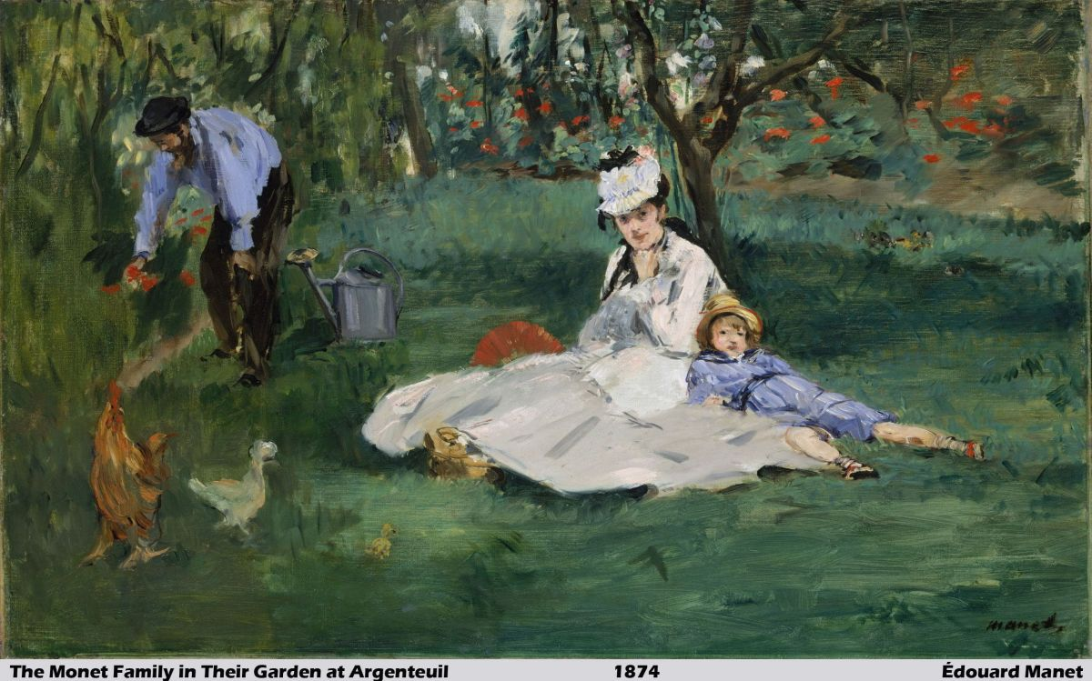 The Monet Family in Their Garden at Argenteuil by Édouard Manet