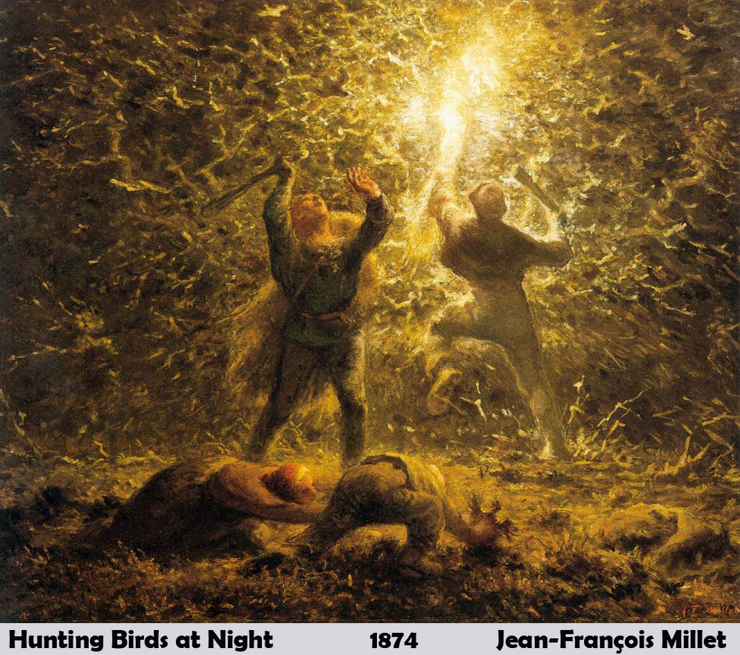 Hunting Birds at Night by Jean-François Millet