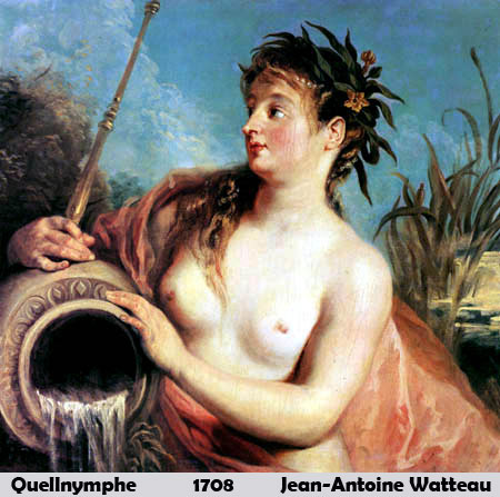 Quellnymphe  by Jean-Antoine Watteau-Oil Painting
