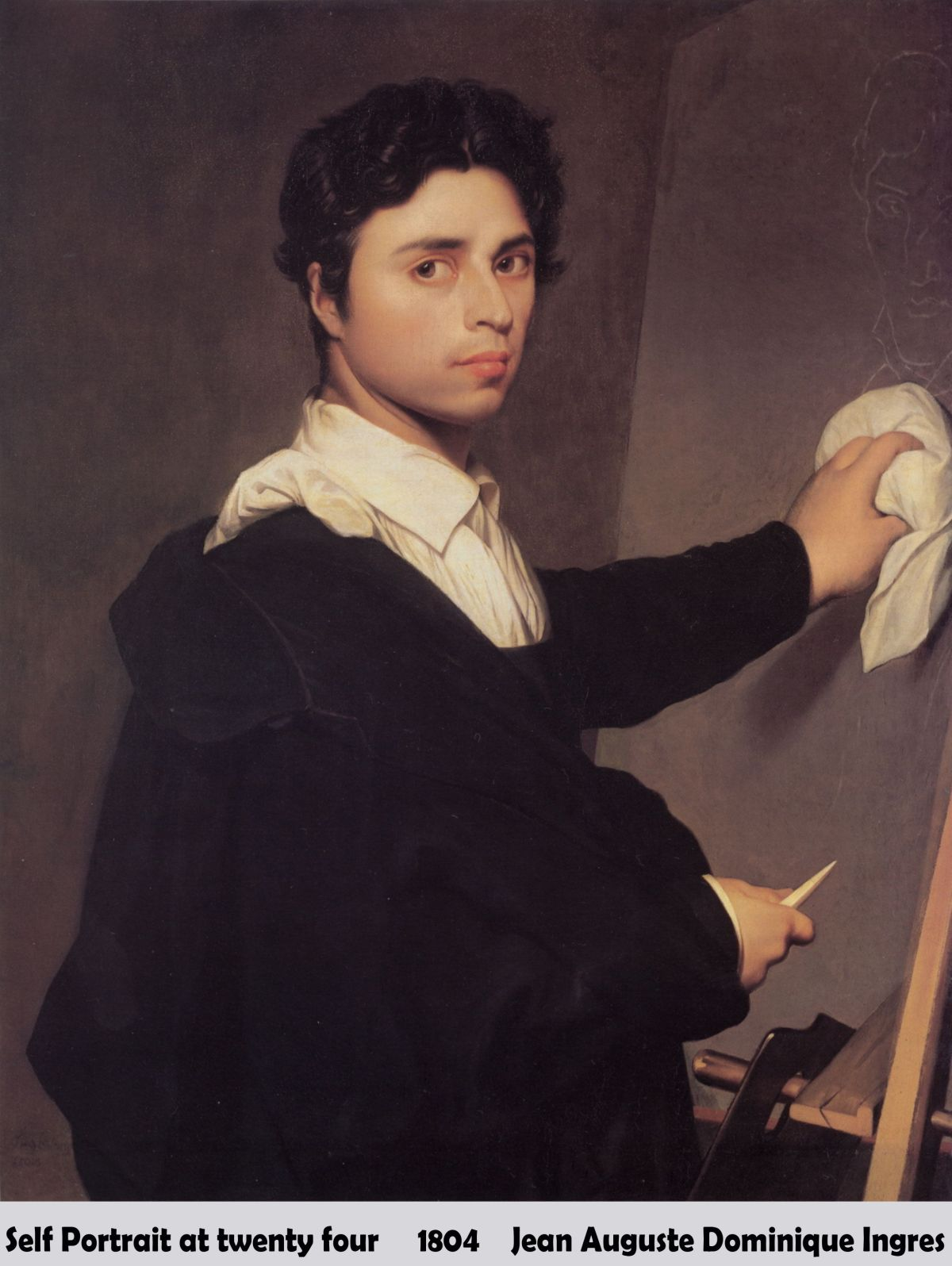 Self Portrait at twenty four by Jean Auguste Dominique Ingres-Portrait Painting