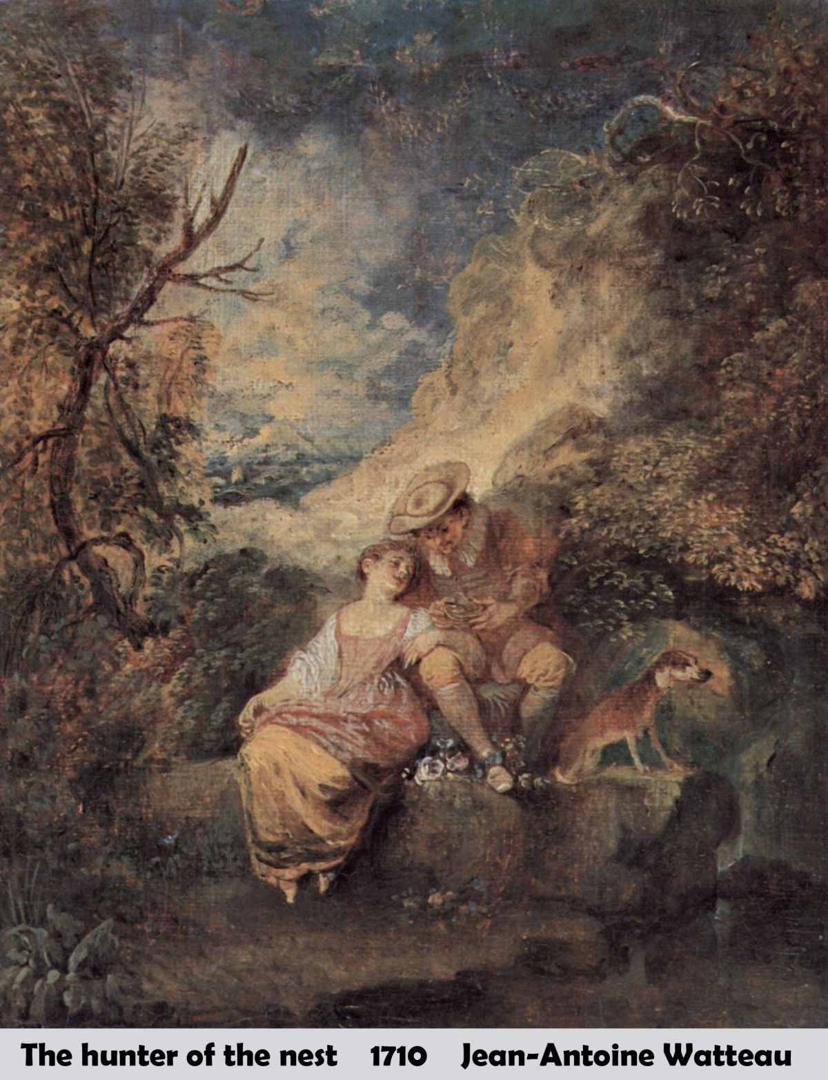 The hunter of the nest by Jean-Antoine Watteau-French Painting