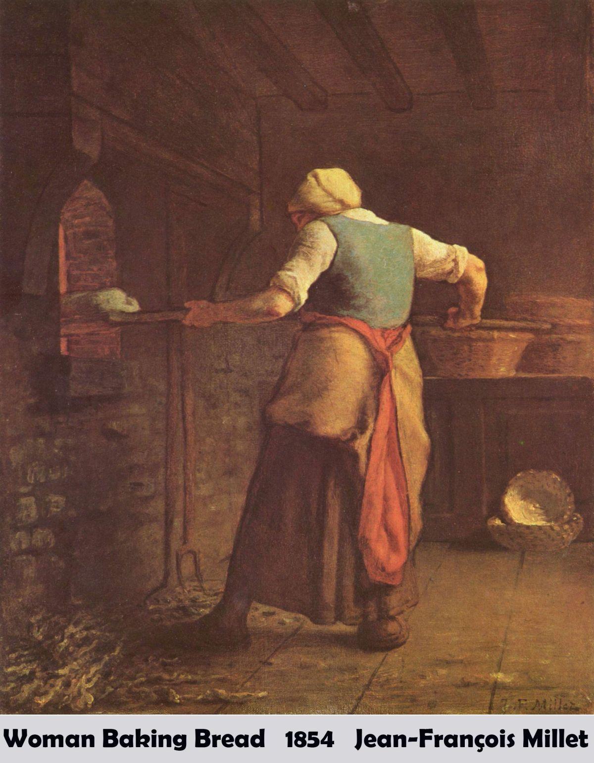 Woman Baking Bread by Jean Francois Millet