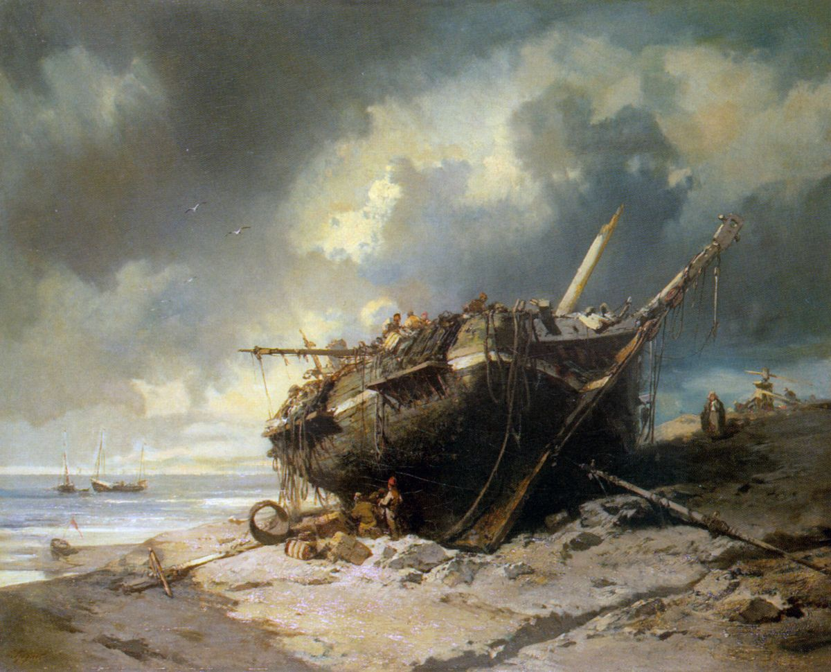 Dismantling a Beached Shipwreck by Charles Hoguet