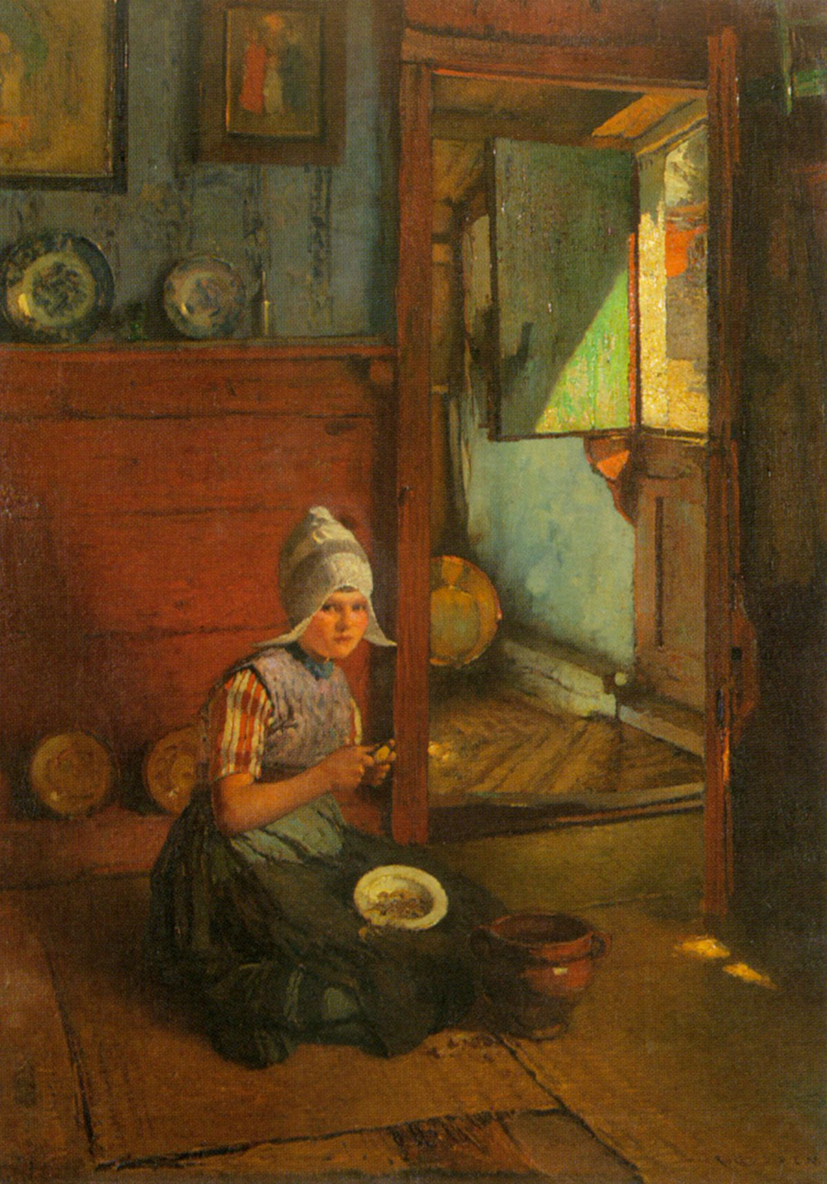 Girl Peeling Potatoes Volendam by Rudolf Gudden