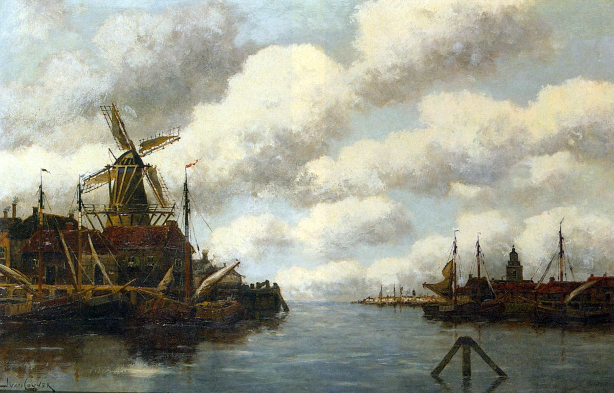Harbour with Windmill by Jan van Vlaardingen Couver