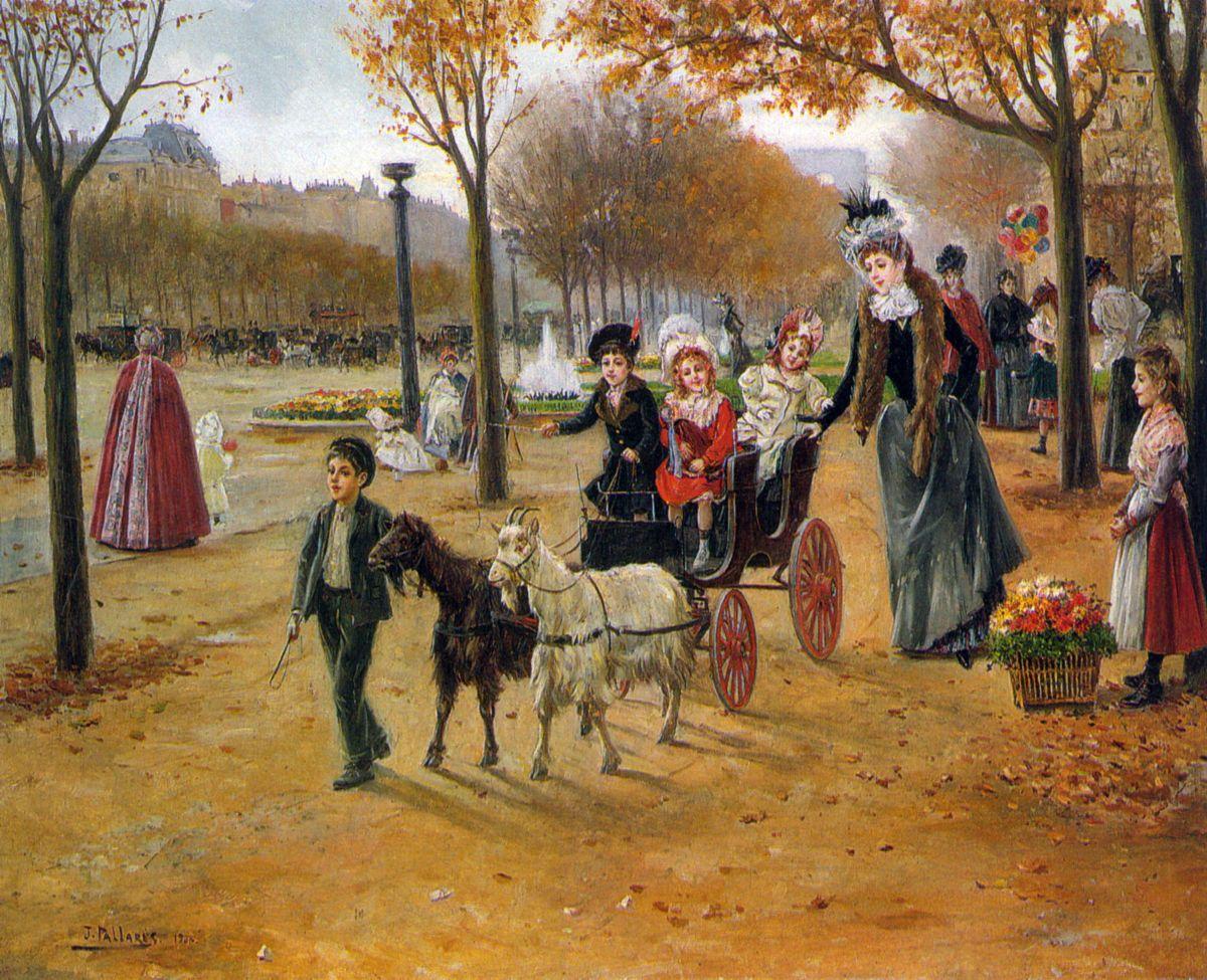 La promenade au Champs Elysees by Joaquin Pallares Y Allustante