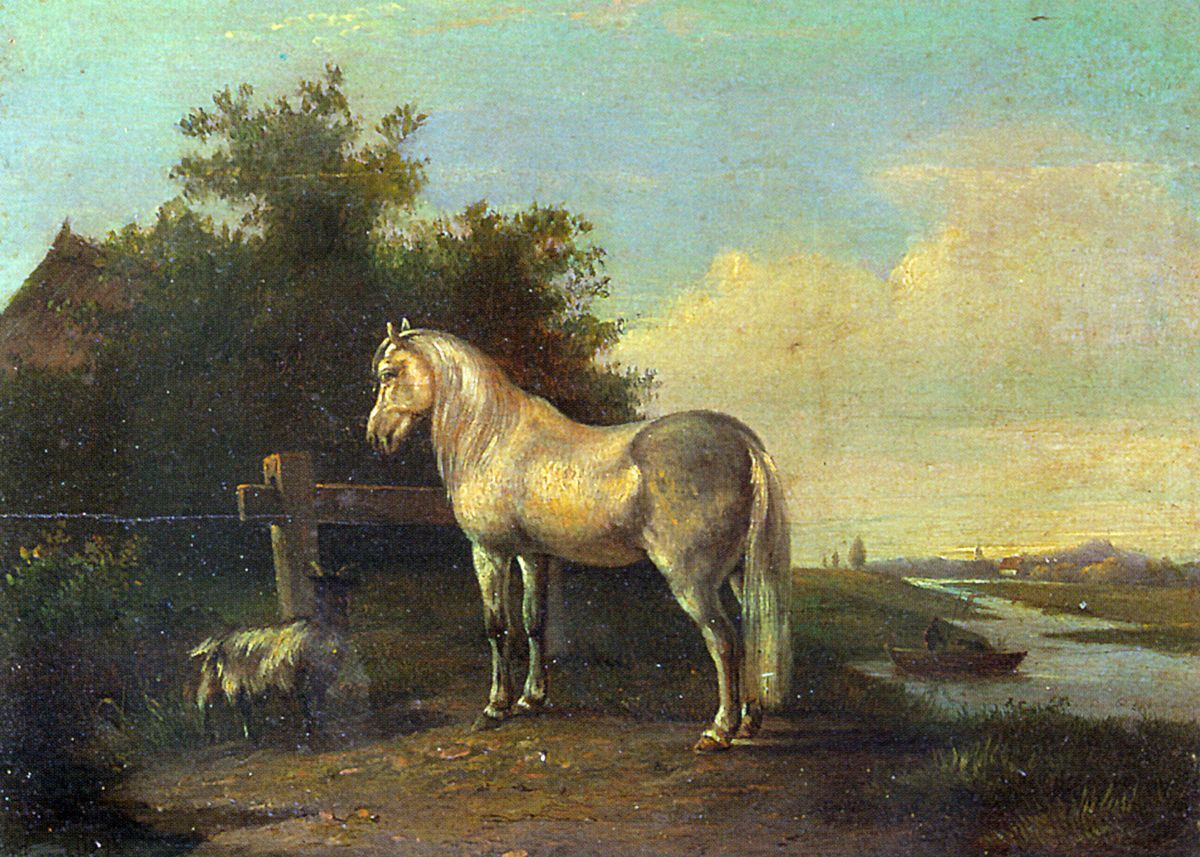 A Grey Horse and a Goat in a River Landscape by Pieter Frederik Van Os