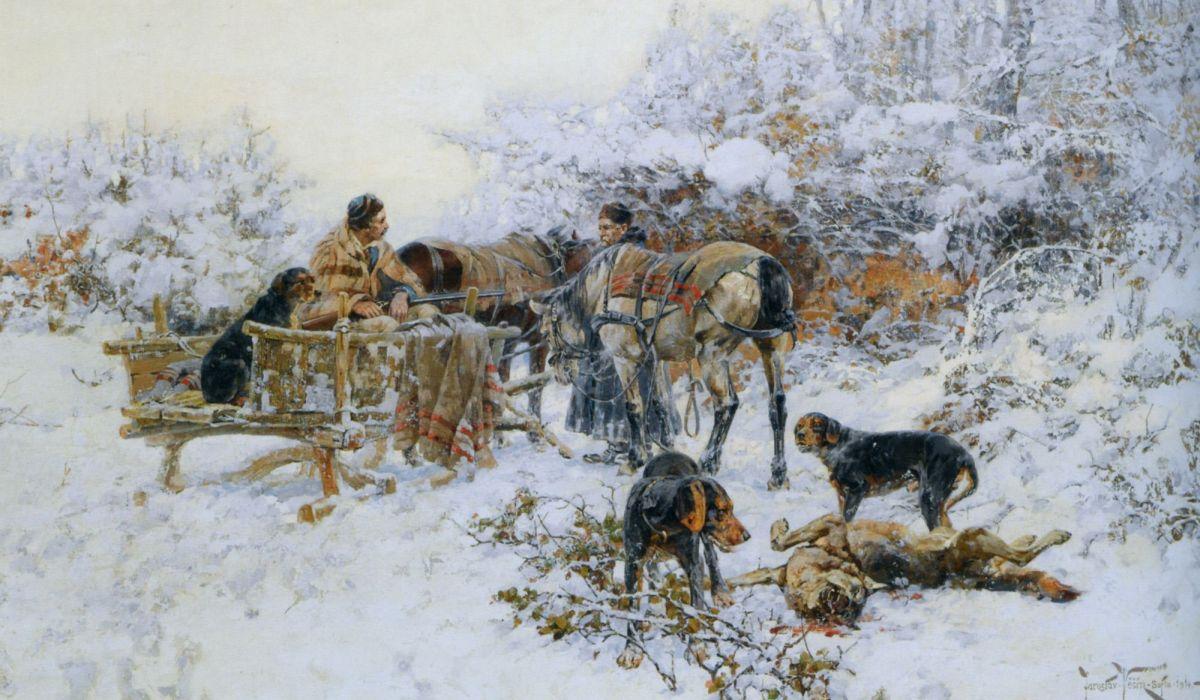A winter hunt by Jaroslav Fr Julius Vesin