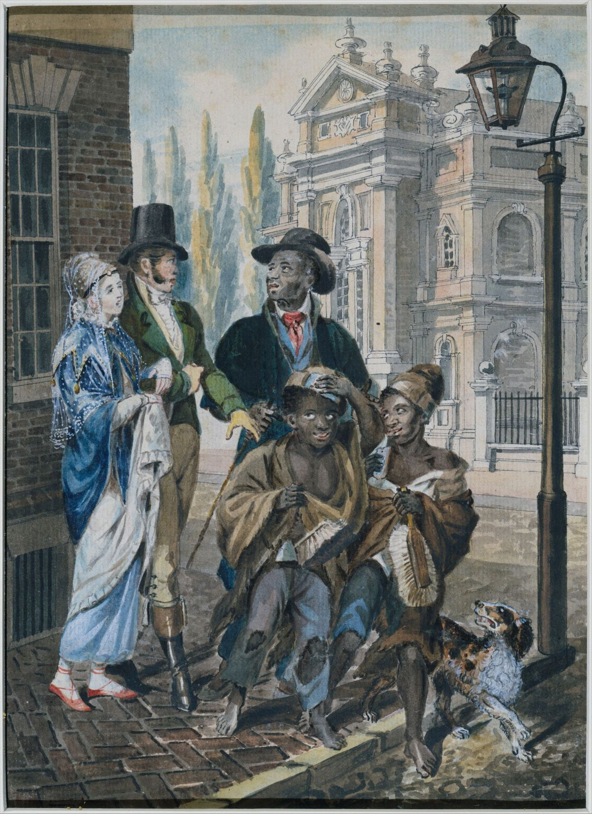 Worldly Folk Questioning Chimney Sweeps and Their Master before Christ Church, Philadelphia by John Lewis Krimmel