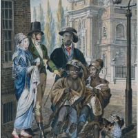 """Worldly Folk"" Questioning Chimney Sweeps and Their Master before Christ Church, Philadelphia by John Lewis Krimmel"
