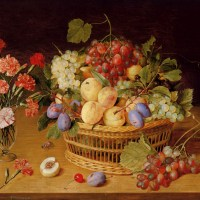A Still Life Of A Vase Of Carnations To The Left Of A Basket Of Fruit by Jacob van Hulsdonck