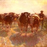 Viehtrieb Auf Der Inselstrasse by Heirich von Zugel