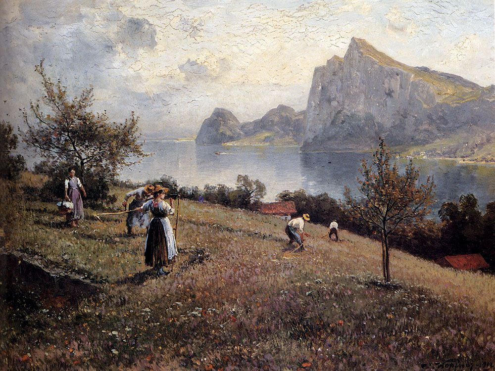 Harvesters By The Chiemsee by Joseph Wopfner