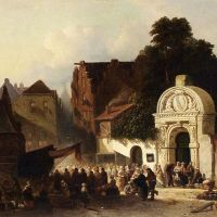 A Busy Market In A Dutch Town by Jacobus Adrianus Vrolijk