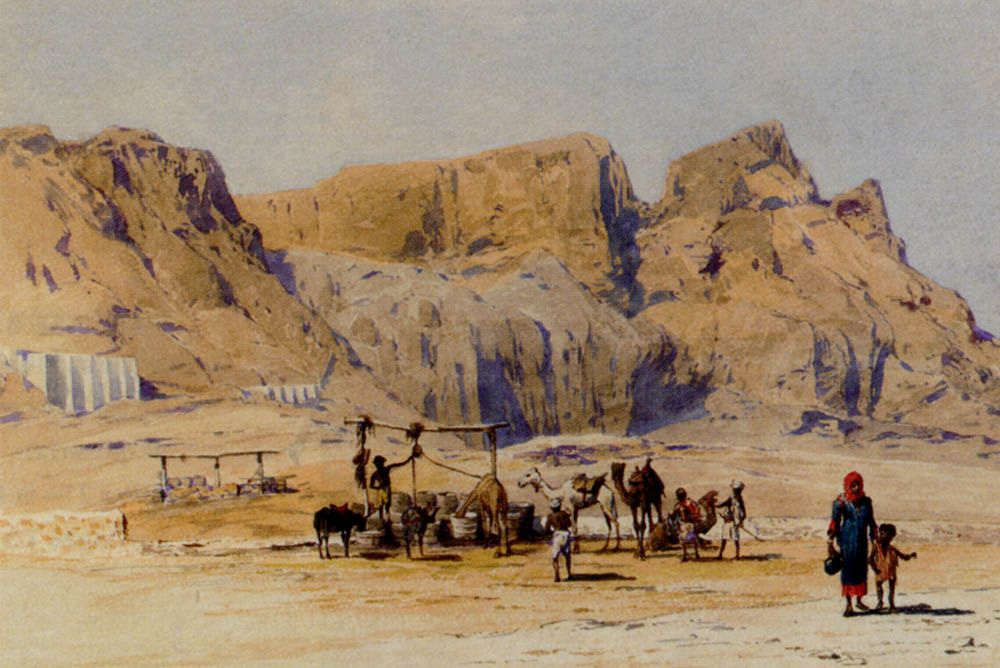 A Camel Train At Aden by Charles Wilda