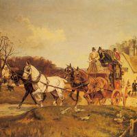 A Coach and Four Leaving an Inn by Gilbert Scott Wright