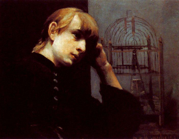 A Dreamy Girl by a Bird Cage by Joseph Jannsens de Waerebeke
