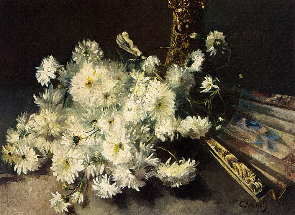 A Still Life With Chrysanthemums And A Fan by Guillaume Vogels