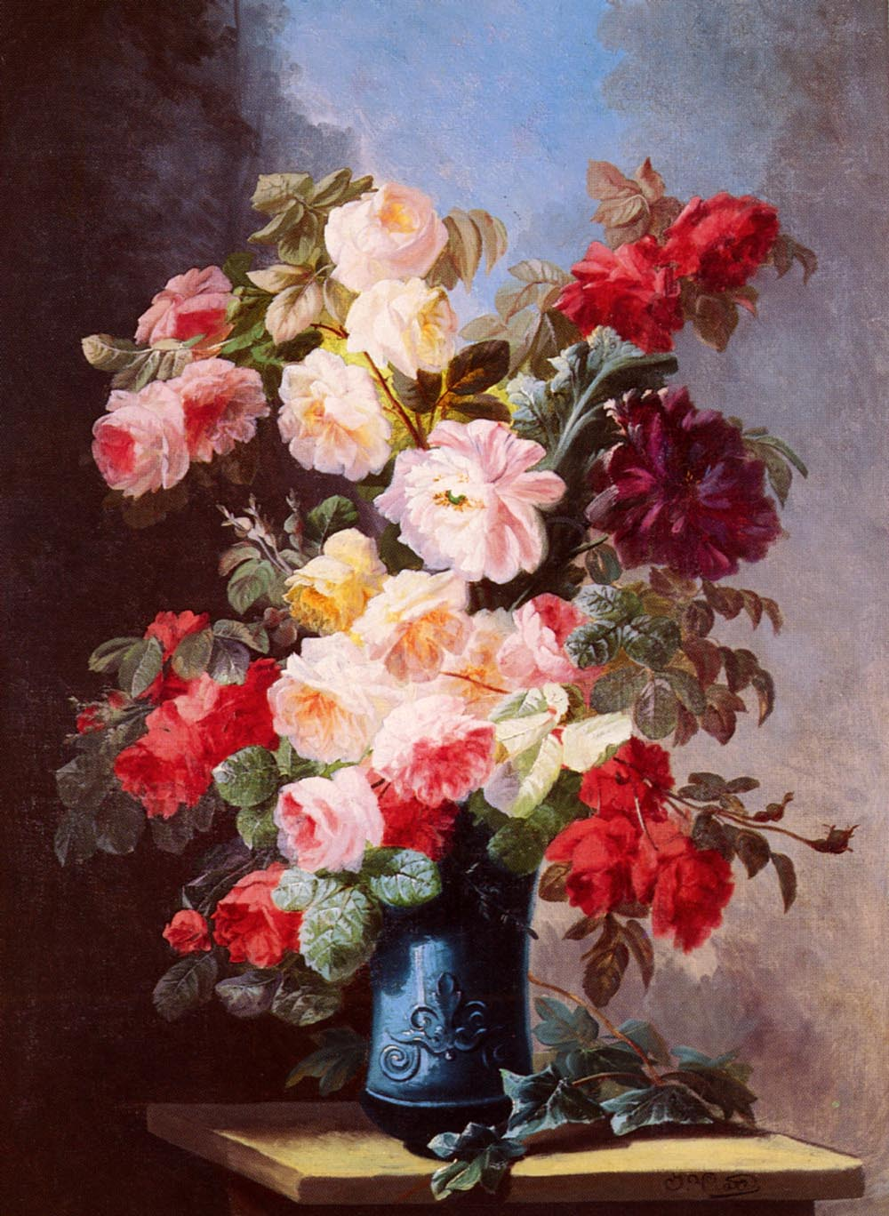 A Still Life With Roses And Peonies In A Blue Vase by Georges Viard