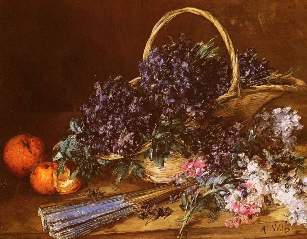 A Still Life with a Basket of Flowers Oranges and a Fan on a Table by Antoine Vollon